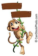 singe, tenue, bois, deux, signboards