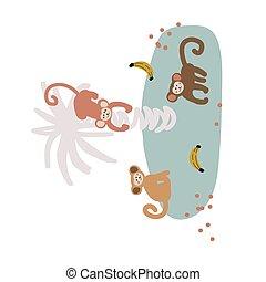 singe, vecteur, illustration., dessin animé, bande, mignon, puéril