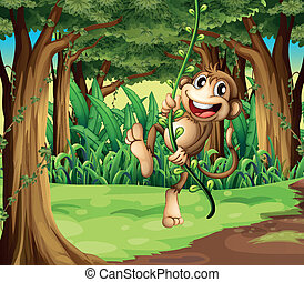 singe, vigne, arbres, milieu, illustration, jouer, forêt
