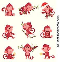 singes, chartoon, différent, illustration, vecteur, actions, poses, rouges, ensemble, caracter, rigolote