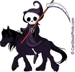 sinistre, dessin animé, équitation, cheval, reaper