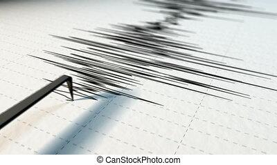 sismographe, fin, flèche, vue