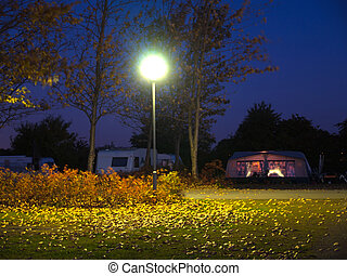 site, camping, nuit