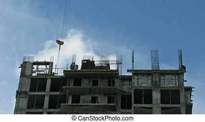 site., défaillance, construction, nuage, temps