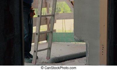 site, ouvrier construction, homme