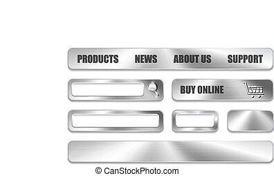 site web, éléments, conception, métallique