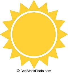 site web, été, lumière soleil, plat, mobile, soleil, app, symbole., illustration, bouton, toile, pictogram., vector., conception, icône