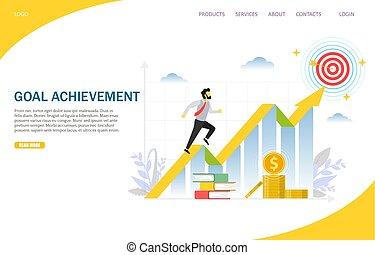 site web, but, atterrissage, vecteur, conception, gabarit, page, accomplissement