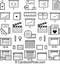 site web, concepteur, icônes