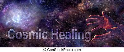 site web, cosmique, bannière, guérison