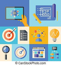 site web, développement, concept, illustration