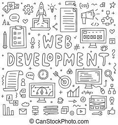 site web, développement, doodles