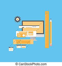site web, développement, illustration, plat