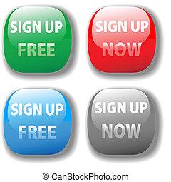 site web, ensemble, boutonner, gratuite, signe, maintenant, icône