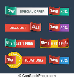 site web, escompte, rubans, vente, collection