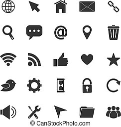 site web, fond blanc, icônes