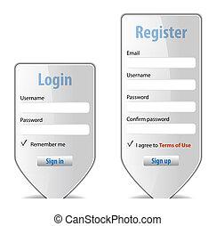 site web, formulaire, élément, conception, interface, login