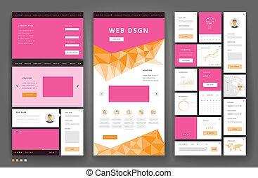 site web, gabarit, éléments conception, interface