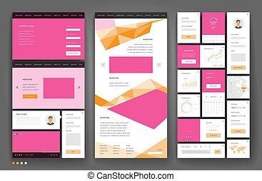 site web, gabarit, interface, éléments conception