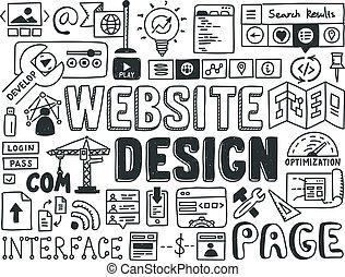 site web, griffonnage, éléments, conception