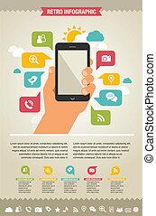 site web, icônes, mobile, -, téléphone, infographic, fond