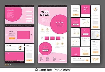 site web, interface, éléments, conception, gabarit