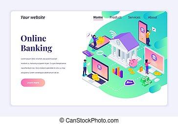site web, investissement financier, page, illustration, concept, characters., template., banque, website., atterrissage, plat, isométrique, conception, vecteur, mobile, moderne, ligne