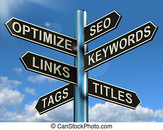 site web, liens, poteau indicateur, projection, seo, optimization, commercialisation, keywords, optimize