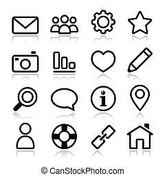 site web, menu, coup, navigation, icône