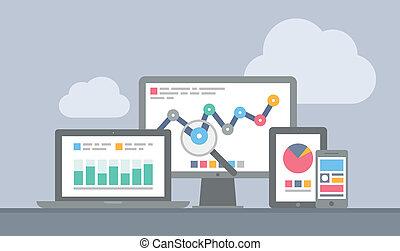 site web, mobile, concept, analytics