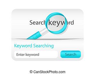 site web, mot clé, recherche, élément, verre, magnifier