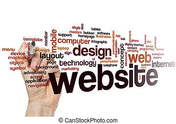 site web, mot, nuage