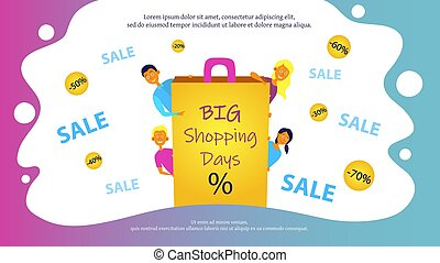 site web, ou, jours, gens., joyeux, achats, bannière, vente, conception, grand, sale., concept, affiche quatre, jeune