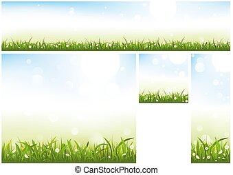 site web, printemps, bannière, collection