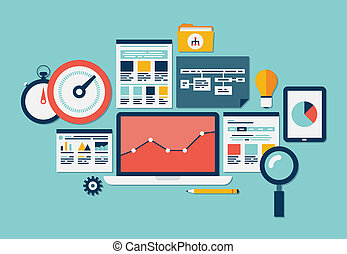 site web, seo, analytics, icônes