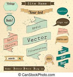 site web, vendange, set., éléments, conception