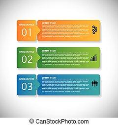 sites web, ceci, séquence, &, utilisé, étiquettes, banners., commercialisation, étapes, vecteur, infographic, coloré, graphique, simple, -, être, présentations, publicité, etc, webdesigns, matériels, business, boîte