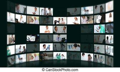 situations, différent, montage, monde médical