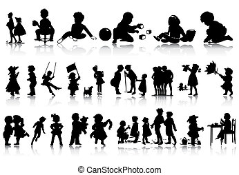 situations., illustration, silhouettes, vecteur, divers, enfants