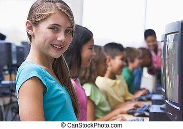 six, key), enfants, terminaux, informatique, fond, (depth, field/high, prof