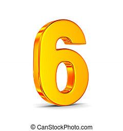six, nombre, illustration, isolé, arrière-plan., blanc, 3d