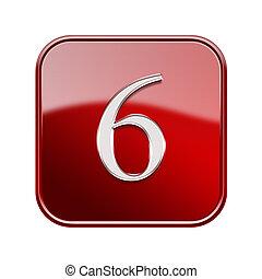 six, nombre, isolé, lustré, fond, blanc rouge