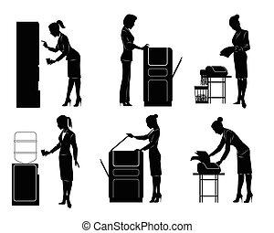 six, silhouette, femmes affaires