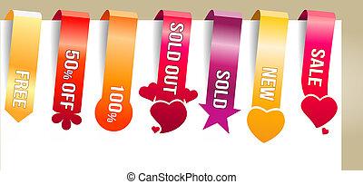 six, vertical, couleur, texte, étiquettes, promotion