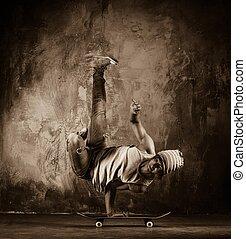 skateboard, image, homme, mouvements, modifié tonalité, acrobatique, jeune