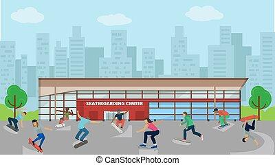skateboard, sport, vecteur, event., extrême, urbain, cavalcade, activités, actif, plat, sport, centre, enfant, enfants, gosse, skateboarding, illustration.