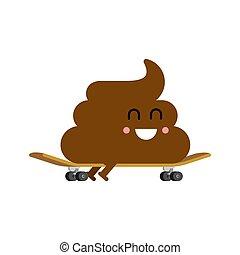 skateboarder., illustration, vecteur, skateboard., turd, merde
