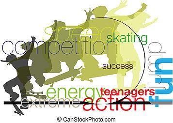 skater., vecteur, illustration