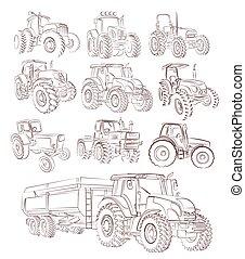 sketches., ensemble, tracteur