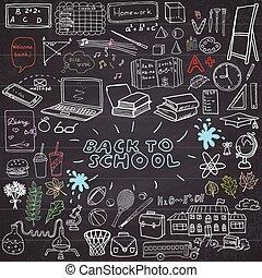 sketchy, école, dos, fournitures